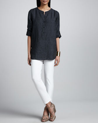 Delave Washed Linen Tunic, Slim Stretch Crepe Ankle Pants & Botanical ...