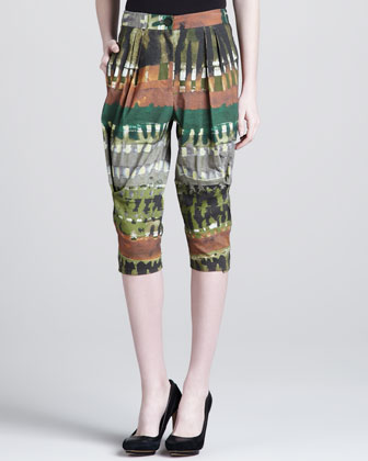 Tribal-Print Cropped Pants