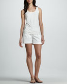 Satin Twill Shorts, White
