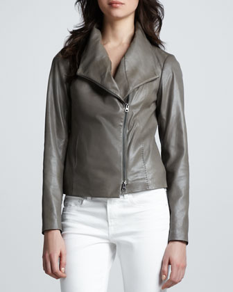 Leather Scuba Shawl-Collar Jacket