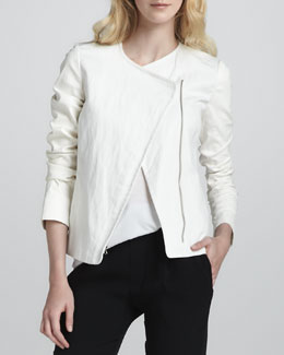 Vince Leather-Sleeve Asymmetric Jacket