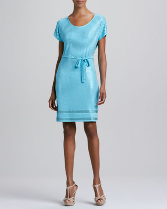 Grid-Stone Tie-Waist Dress, Blue