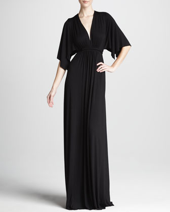 Solid Black Caftan Maxi Dress, Women's