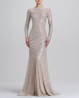 Carmen Marc Valvo Long-Sleeve Sequined Mermaid Gown