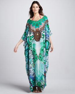 Camilla Land of Wonder Crystallized Silk Printed Caftan