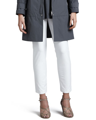 Weather-Resistant Coat, Silk Jersey Tunic & Slim Ankle Pants, Women's