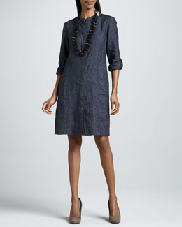 Eileen Fisher Washed Linen Snap-Button Dress, Denim