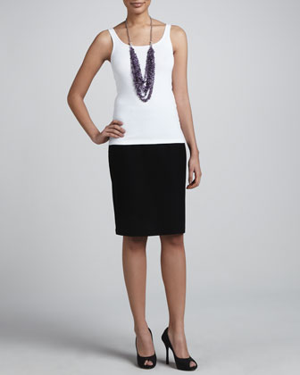 Flutter Cardigan, Slim Tank & Crepe Pencil Skirt
