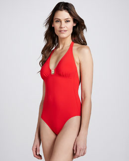 Tory Burch Warp Halter One-Piece Swimsuit
