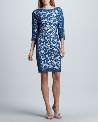 Contour-Panel Lace Cocktail Dress