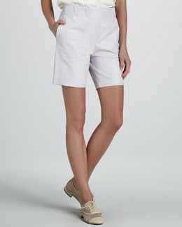 Halston Heritage High-Waist Leather Shorts