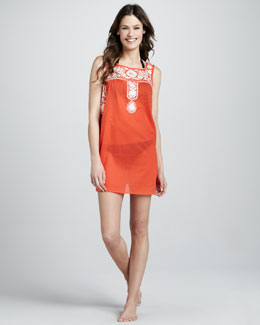 Tory Burch Amira Embroidered Voile Coverup Dress