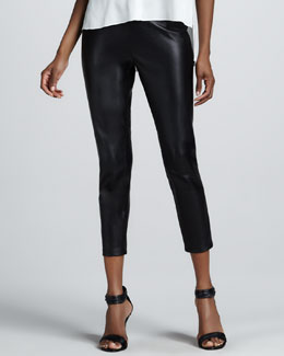 Neiman Marcus Cropped Leather Leggings