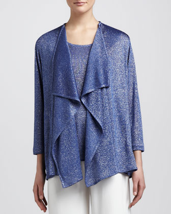 Shimmer Knit Cardigan, Tank & Stretch-Knit Wide-Leg Pants
