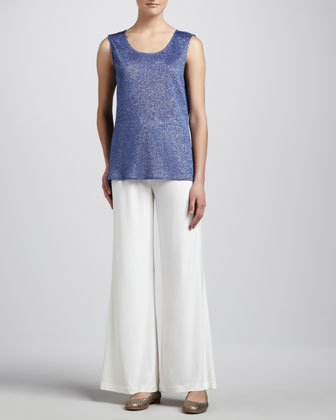 Shimmer Knit Tunic & Stretch-Knit Wide-Leg Pants, Women's