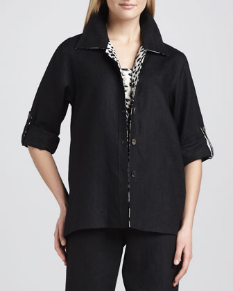 Linen Combo Shirt, Petite