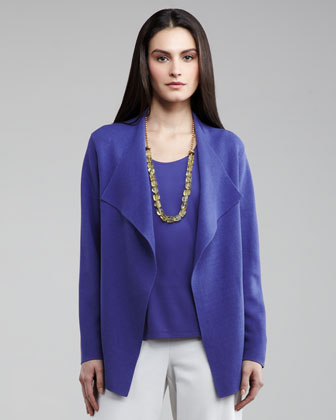 Open Interlock Cardigan, Silk-Jersey Tank & Washable-Crepe Wide-Leg Pants