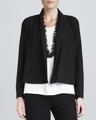 Washable-Stretch Crepe Short Jacket