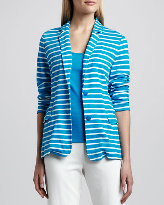 Striped Knit Two-Button Jacket, Petite
