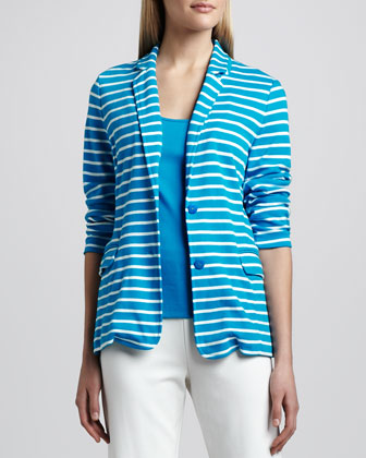 Striped Knit Jacket, Cotton Rib Tank & Slim Ponte Ankle Pants, Women's ...