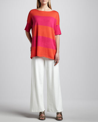 Striped Boxy Sweater & Ponte Wide-Leg Pants, Petite