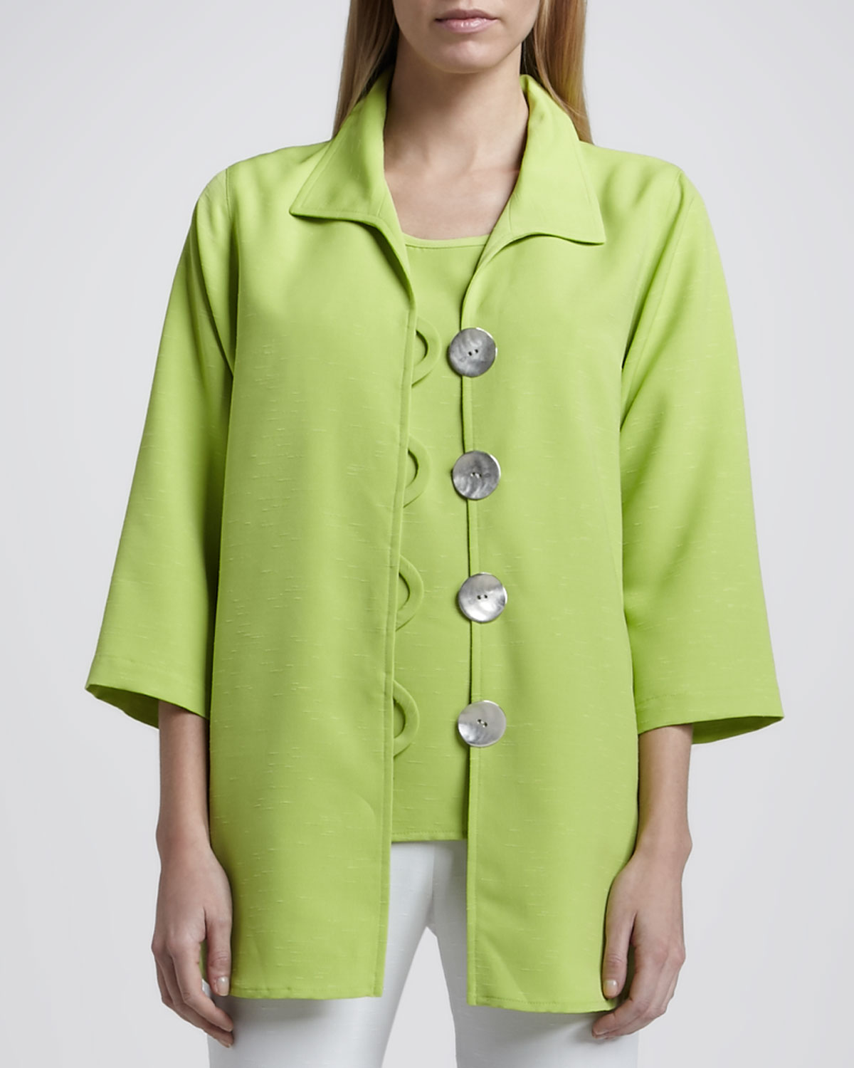 Womens Shantung Big Button Shirt, Petite   Caroline Rose   Lime (PL (12/14))