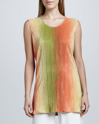 Ombre Plisse Long Tunic/Tank, Women's