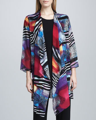 Sunrise-Print Long Jacket