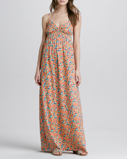 Splendid Watercolor-Print Maxi Dress