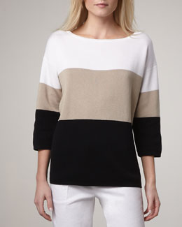 Adrienne Vittadini Wide-Stripe Sweater, Women's