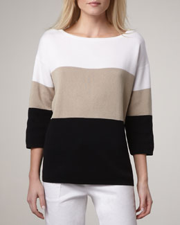 Adrienne Vittadini Wide-Stripe Sweater