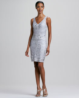 Sue Wong Sleeveless Soutache V-Neck Cocktail Dress