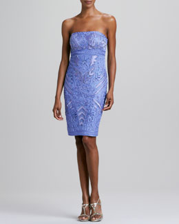 Sue Wong Strapless Beaded Cocktail Dress