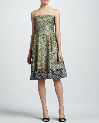 Lace-Overlay Strapless A-Line Cocktail Dress