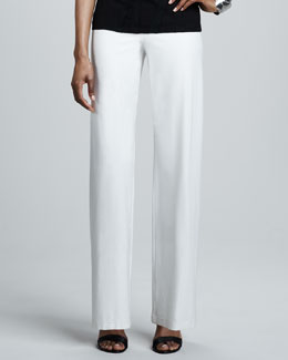 Eileen Fisher Washable-Crepe Wide-Leg Pants, Bone