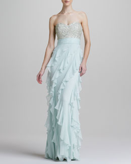 Badgley Mischka Strapless Sequined Bodice Ruffle-Bottom Gown
