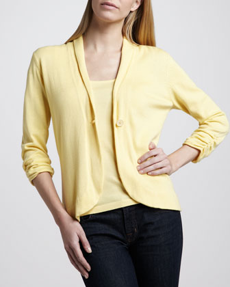 Cotton Scrunched-Sleeve Blazer