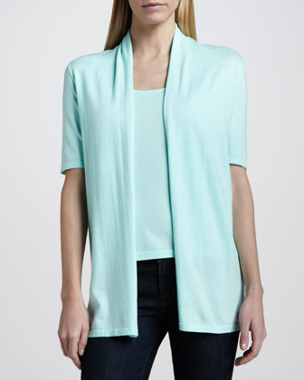 Cotton Half-Sleeve Draped Cardigan