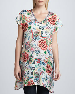 Johnny Was Collection Printed Silk V-Neck Tunic