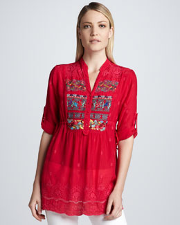 Johnny Was Collection Embroidered Fireworks Blouse