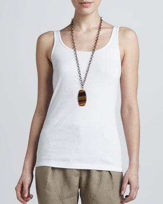 Striped Linen Short-Sleeve Tunic & Organic Cotton Slim Tank