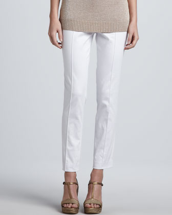 Slim Stretch Poplin Pants, White