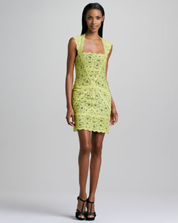 Nicole Miller Lace-Overlay Cocktail Dress