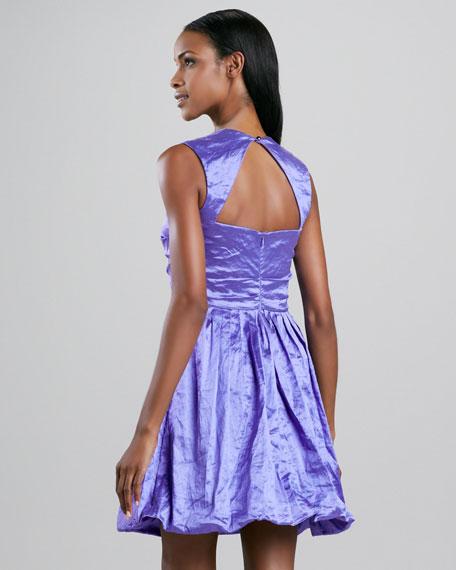 Pleated-Skirt Satin Cocktail Dress