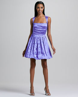 Nicole Miller Pleated-Skirt Satin Cocktail Dress