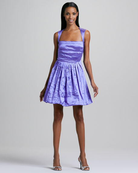 Pleated-Skirt Satin Cocktail Dress