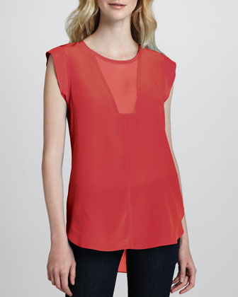Sheer-Inset Silk Top