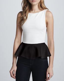 Alice + Olivia Sleeveless Peplum Top, White/Black