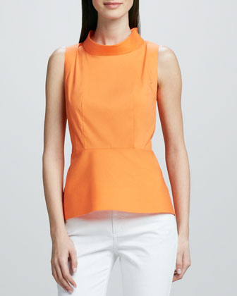 Sleeveless Peplum Mock-Neck Top