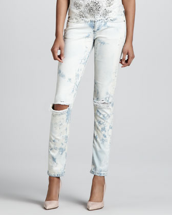 Distressed Cloud-Wash Jeans